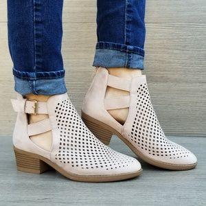 Rose Pink Spring Open Perforated Ankle Booties